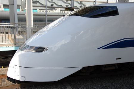 aerodynamic nose cone of a bullet train