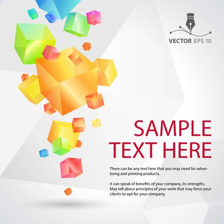 Geometric colorful abstract background with cubes for sample text  Vector illustration