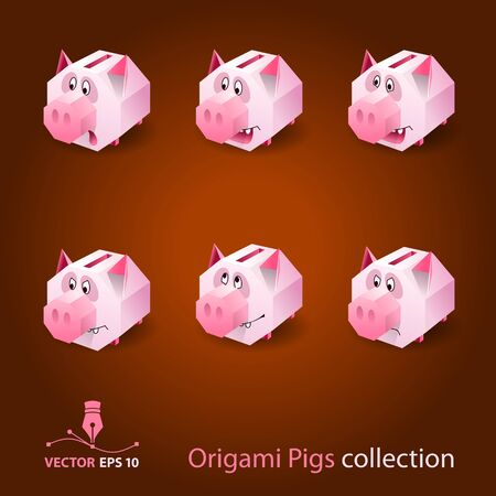 Origami pig moneybox  Vector format  Illustration