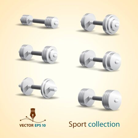 Dumbbell vector set  Sport icons