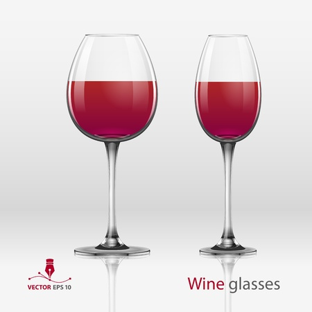 Two glasses of wine isolated on a white background  Vector illustration Illustration