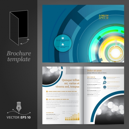 flyer template: Vector blue brochure template design with round elements