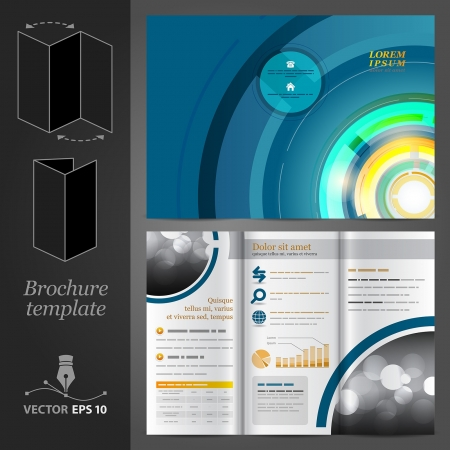 Vector blue brochure template design with round elements  Vector
