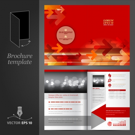 folleto: Vector rojo folleto dise�o de la plantilla con las flechas