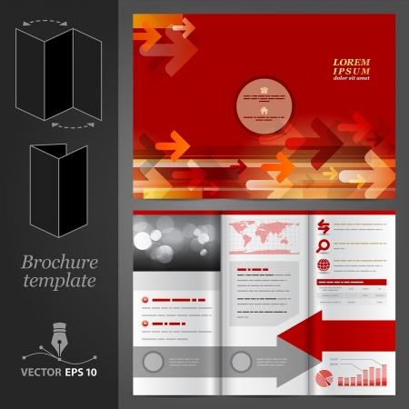 carpetas: Vector rojo folleto dise�o de la plantilla con las flechas