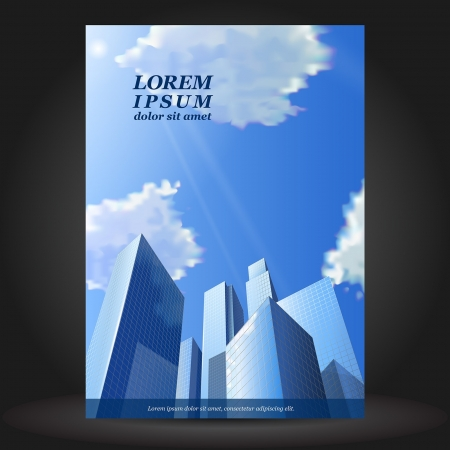 cover book: Vector business brochure template design with skyscrapers