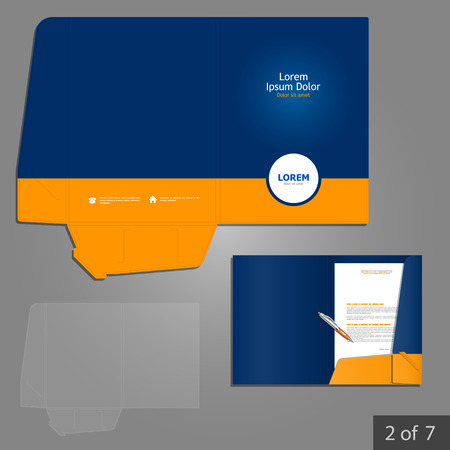 Blue folder template design for company with orange circle. Element of stationery.