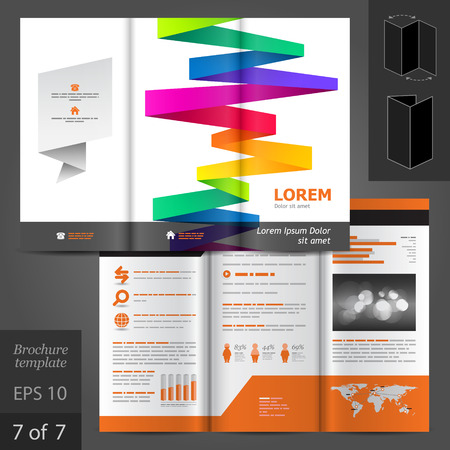 Vector white brochure template design with color stripes