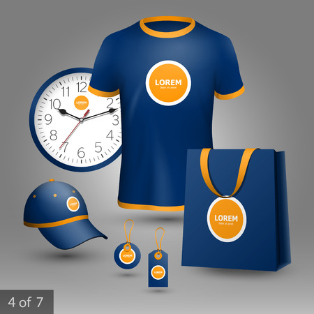 Blue promotional souvenirs design for company with orange circles. Elements of stationery. Illustration