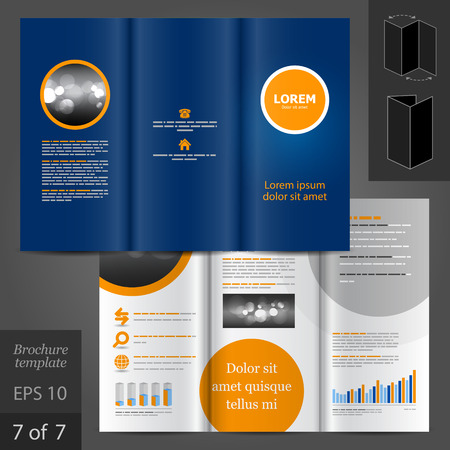 Blue vector brochure template design with orange round element