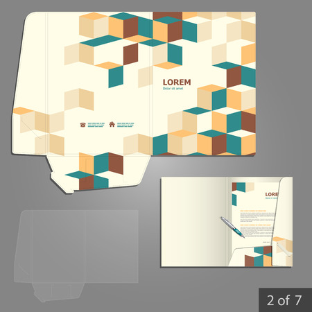 Folder template design for company with cubes and square elements. Element of stationery.
