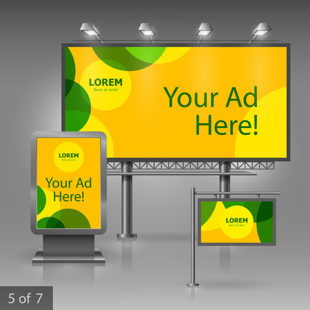 Yellow outdoor advertising design for company with green circles. Elements of stationery. Illustration