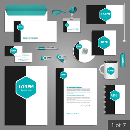 documentation: Stationery template design with blue square elements. Documentation for business. Illustration