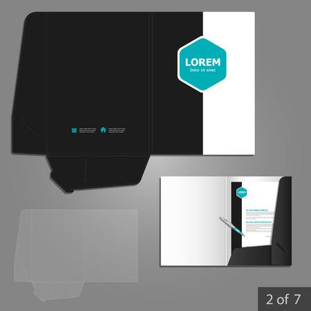 folder: Folder template design for company with blue square elements. Element of stationery. Illustration