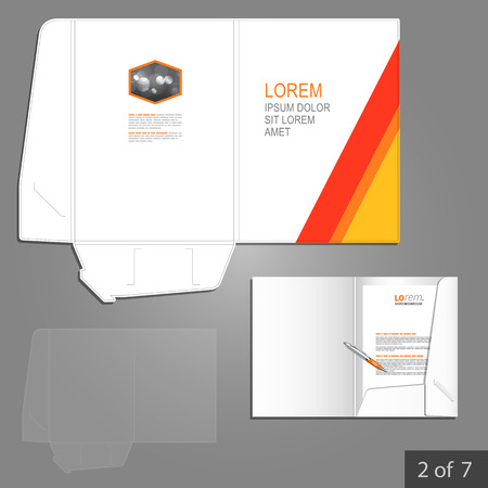 folder: White folder template design for company with red and yellow lines. Element of stationery.