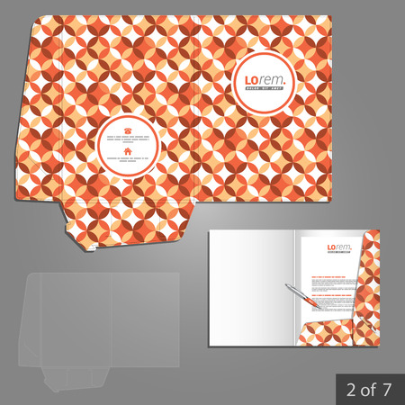 vintage document: Red vintage folder template design for company with floral round pattern. Element of stationery.