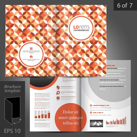 brochure template: Red vintage vector brochure template design with floral round pattern