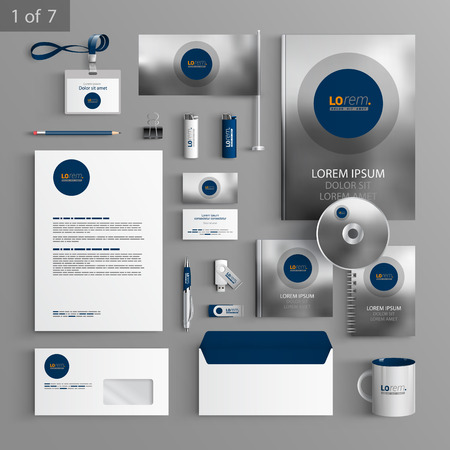 blue card: Gray stationery template design with blue round element and photo. Documentation for business.