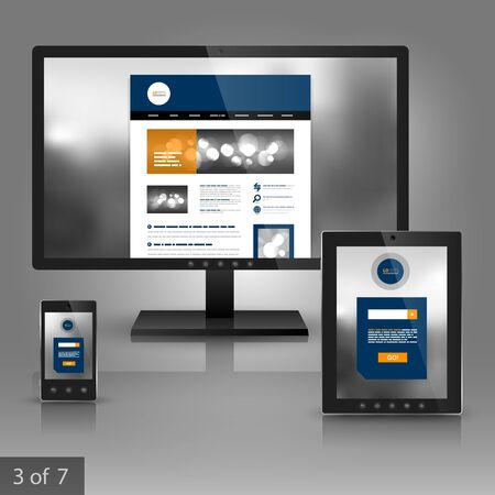 website layout: Gray application template design for gadgets with blue round element and photo. Elements of stationery. Illustration