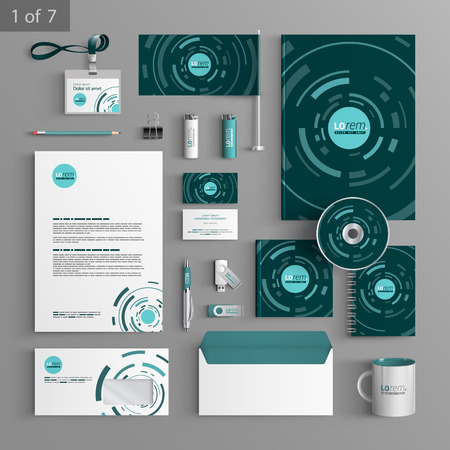 stationary set: Green stationery template design with blue round digital elements. Documentation for business.
