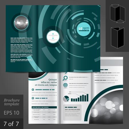 folleto: Diseño vectorial plantilla de folleto verde con figuras digitales azules redondas