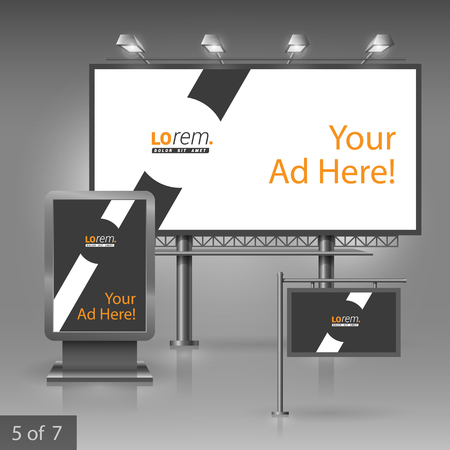 outdoor advertising: Black outdoor advertising design for company with white diagonal line. Elements of stationery.