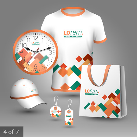 color design: Promotional souvenirs design for company with color square elements. Elements of stationery.