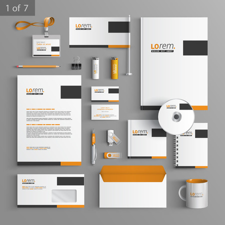 hojas membretadas: Diseño de la plantilla de escritorio clásico con elementos cuadrados negros y naranjas. Documentación para los negocios. Vectores