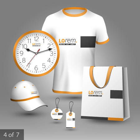 apparel: Classic promotional souvenirs design for company with black and orange square elements. Elements of stationery.