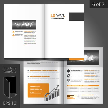 Classic vector brochure template design with black and orange square elements