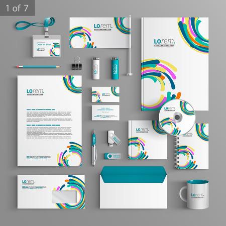 papeleria: Diseño de la plantilla de papelería colorido con elementos redondos arte. Documentación para los negocios. Vectores