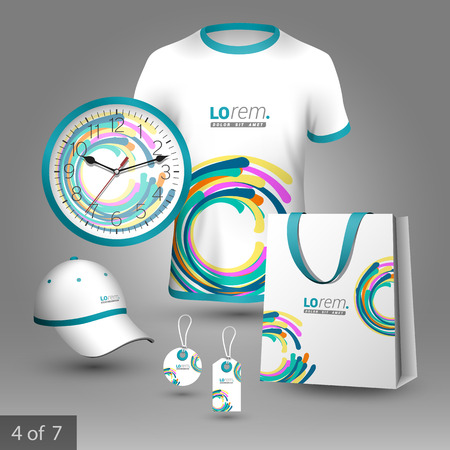 color design: Colorful promotional souvenirs design for company with circles. Elements of stationery.