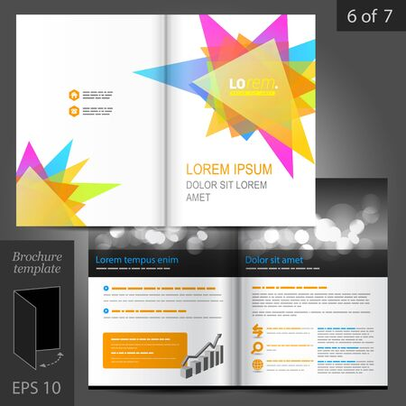Colorful vector creative brochure template design with art triangle elements