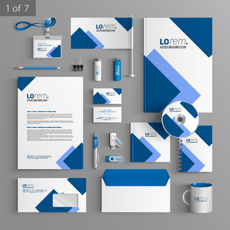 White stationery template design with blue square elements. Documentation for business. Illustration