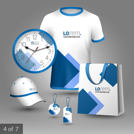 t square: White promotional souvenirs design for company with blue square elements. Elements of stationery.