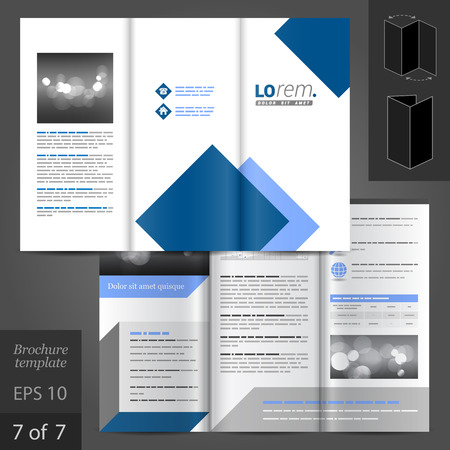 White vector white brochure template design with blue square elements
