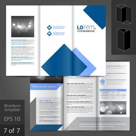folleto: Vector diseño blanco plantilla de folleto con elementos cuadrados azules