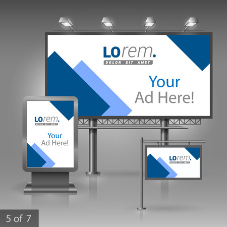 White outdoor advertising design for company with blue square elements. Elements of stationery. Illustration