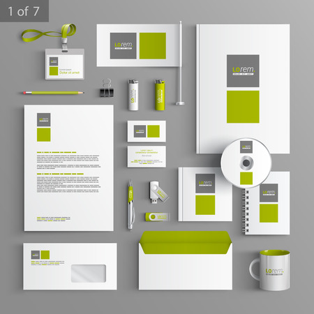 White stationery template design with green and gray square elements. Documentation for business. 矢量图像