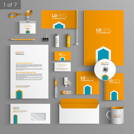 Oranje kantoorbehoeftenmalplaatje design met blauwe pijl. Documentatie voor het bedrijfsleven.