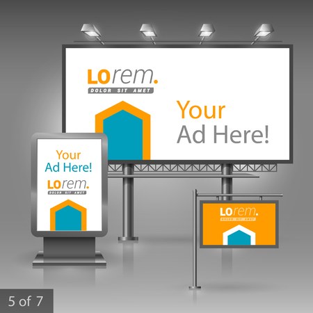 outdoor advertising: Orange outdoor advertising design for company with blue arrow. Elements of stationery. Illustration