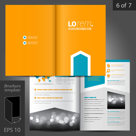Orange vector brochure template design with blue arrow