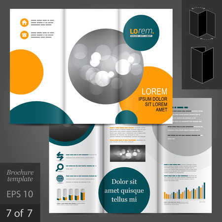 White vector creative brochure template design with blue and orange circles
