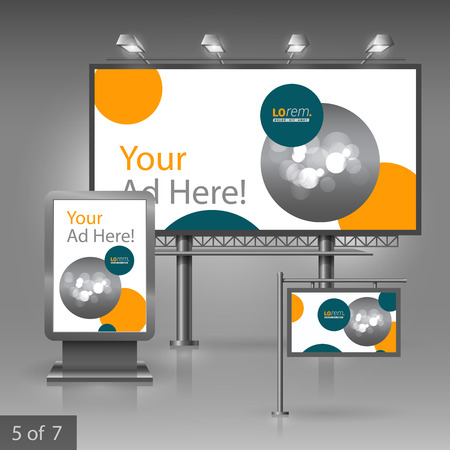 company board: White outdoor advertising design for company with blue and orange circles. Elements of stationery.