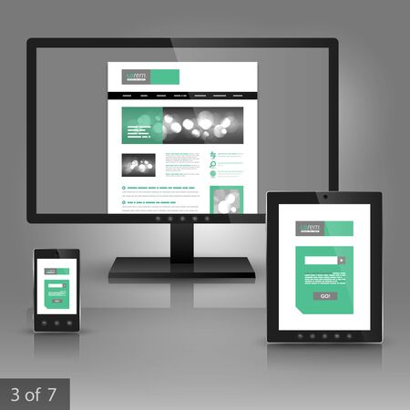 White application template design for gadgets with green and gray square elements. Elements of stationery.