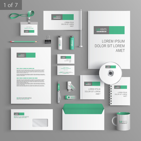 White stationery template design with green and gray square elements. Documentation for business. Illustration