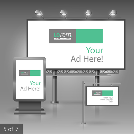 outdoor advertising: White outdoor advertising design for company with green and gray square elements. Elements of stationery.