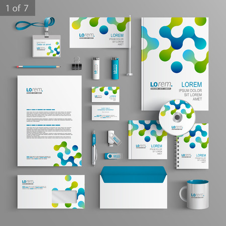 White stationery template design with blue and green geometric pattern. Documentation for business. Illustration