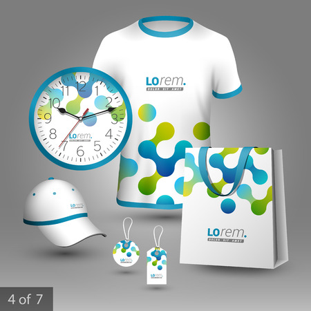 White promotional souvenirs design for company with blue and green geometric pattern. Elements of stationery.