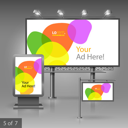 color design: Colorful outdoor advertising design for company with circles. Elements of stationery.